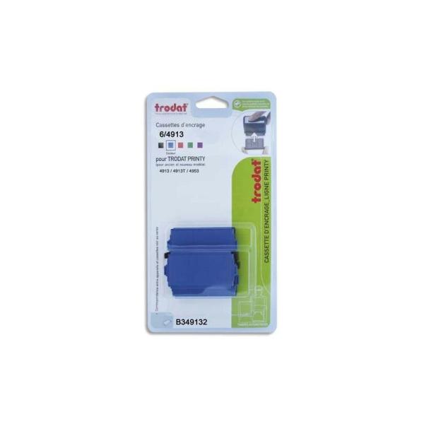 TRODAT Blister de 3 cassettes 6/4913 bleu pour appareils Trodat Printy 4913, 4913t, 4953 B349132 - Photo n°1