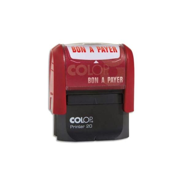 COLOP Timbre à encrage automatique , empreinte rouge 38x14 mm : BON A PAYER - Photo n°1