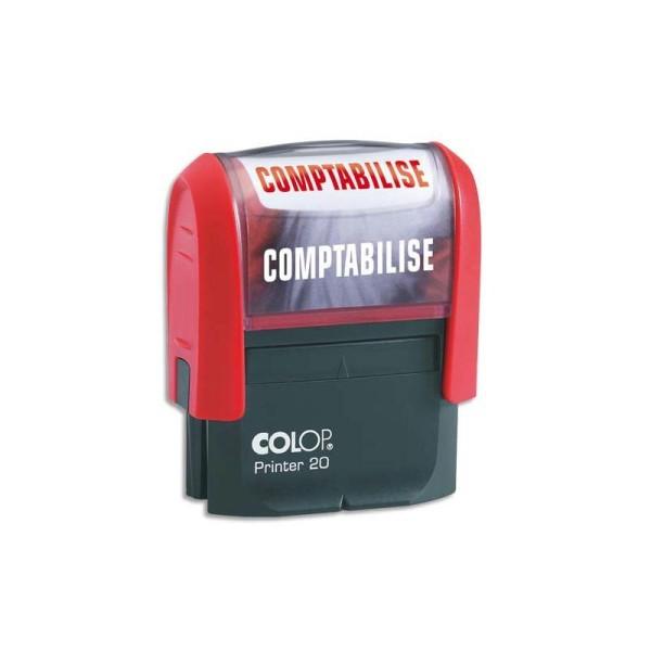 COLOP Timbre à encrage automatique , empreinte rouge 38x14 mm : COMPTABILISE - Photo n°1