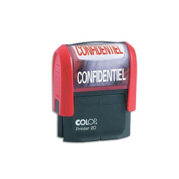 COLOP Timbre à encrage automatique , empreinte rouge 38x14 mm : CONFIDENTIEL - Photo n°1