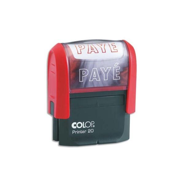 COLOP Timbre à encrage automatique , empreinte rouge 38x14 mm : PAYE - Photo n°1
