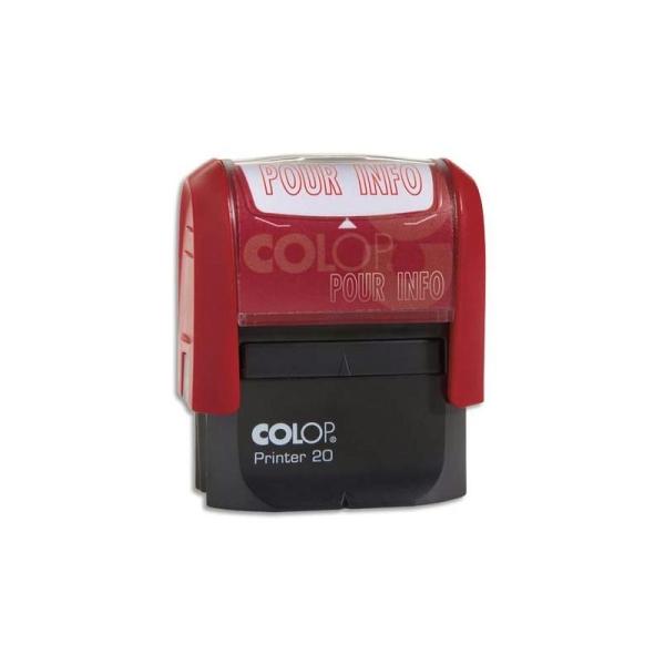 COLOP Timbre à encrage automatique , empreinte rouge 38x14 mm : POUR INFO - Photo n°1