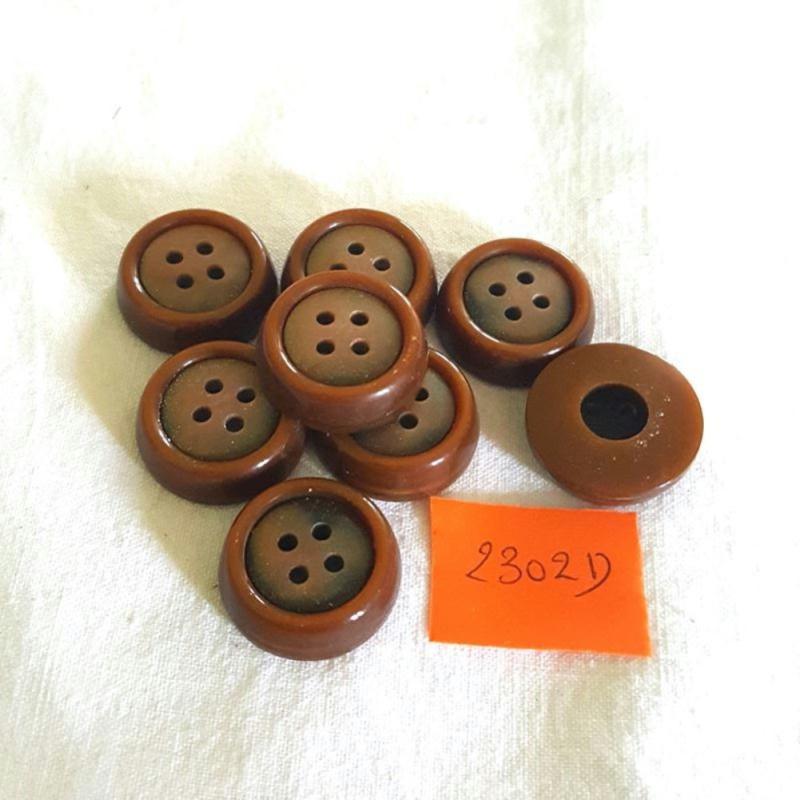 8 boutons r sine marron et dor 22mm 2302d boutons couture creavea. Black Bedroom Furniture Sets. Home Design Ideas