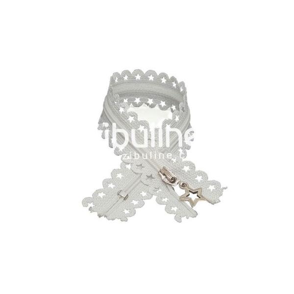 Fermeture dentelle étoiles - Blanc - Photo n°1