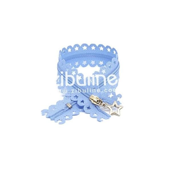 Fermeture dentelle étoiles - Bleu clair - Photo n°1