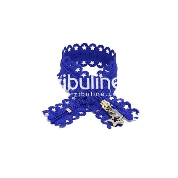 Fermeture dentelle étoiles - Bleu foncé - Photo n°1