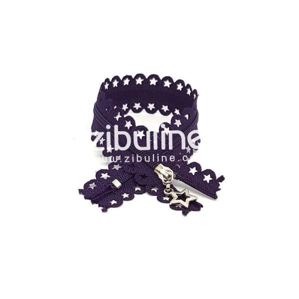 Fermeture dentelle étoiles - Violet foncé - Photo n°1