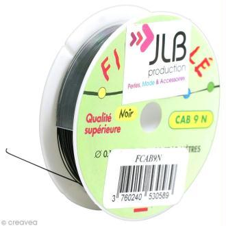Bobine de fil cablé noir - 0,45 mm - 9 mètres
