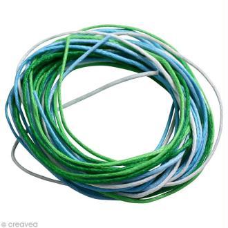Fil coton 0,7 mm - Camaïeu Bleu et vert - 5 mètres