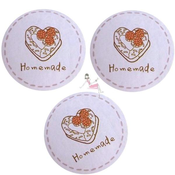 60 Etiquettes Homemade, fait maison, stickers adhésifs pour vos gâteaux, confiseries, confitures - Photo n°1