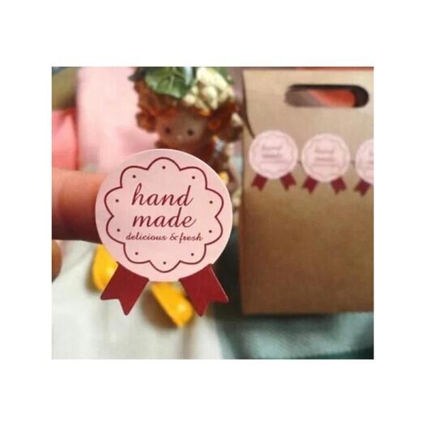 72 Etiquettes Handmade rose, stickers adhésifs pour vos pâtisseries, confitures.. faites maison BIO - Photo n°2