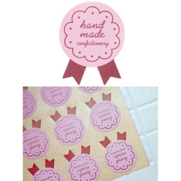 72 Etiquettes Handmade rose, stickers adhésifs pour vos pâtisseries, confitures.. faites maison BIO - Photo n°1