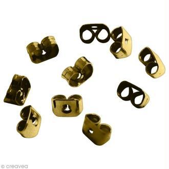 Fermoir poussoir Bronze pour boucle d'oreille - 6 x 4 mm - 10 pcs
