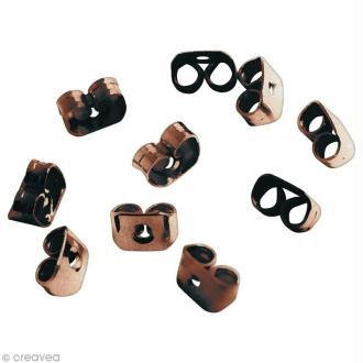 Fermoir poussoir Cuivre pour boucle d'oreille - 6 x 4 mm - 10 pcs