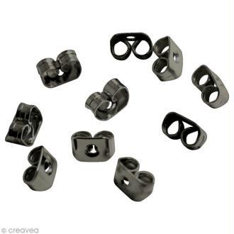 Fermoir poussoir Noir pour boucle d'oreille - 6 x 4 mm - 10 pcs