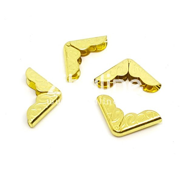 Coins métal - Gravés dorés - Photo n°1