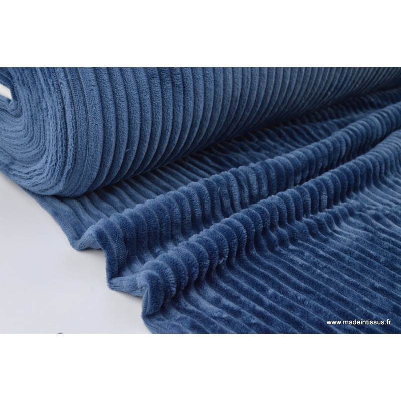 tissu minky rayures bleu marine tissu fourrure artificielle creavea. Black Bedroom Furniture Sets. Home Design Ideas