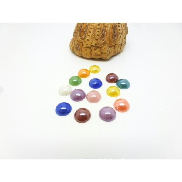 10 Cabochons en verre - couleurs nacrées - 7-8mm -  couleurs aléatoires - Photo n°1