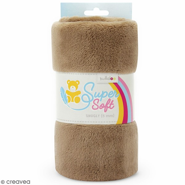 Coupon de tissu peluche Snuggly - Poils longs 5 mm - Taupe - 75 x 100 cm - Photo n°1
