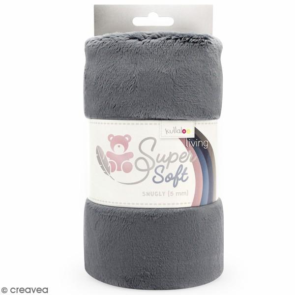 Coupon de tissu peluche Snuggly - Poils longs 5 mm - Gris - 75 x 100 cm - Photo n°1