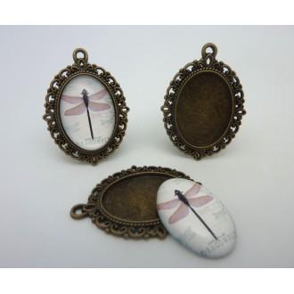 Support Cabochon Pendentif Ovale En Métal Filigrane De Couleur Bronze + Cabochon Ovale En Verre 25