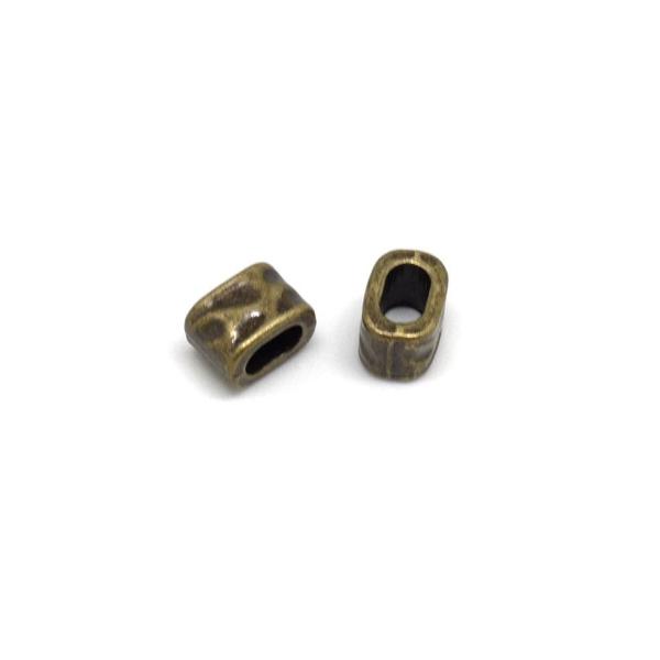 10 Perles passantes pour lanière cuir doré