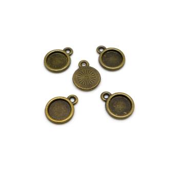 10 Supports Pour Cabochon De 8mm En Métal De Couleur Bronze