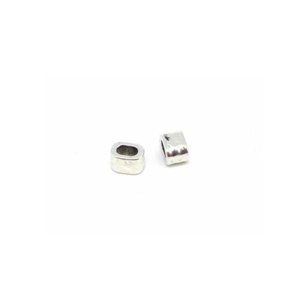 10 Perles Argenté Passant Pour Lanière Cuir De 4,5mm - 5mm Martelé - Photo n°2