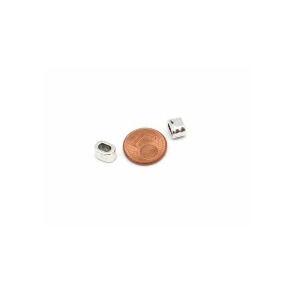 10 Perles Argenté Passant Pour Lanière Cuir De 4,5mm - 5mm Martelé - Photo n°3
