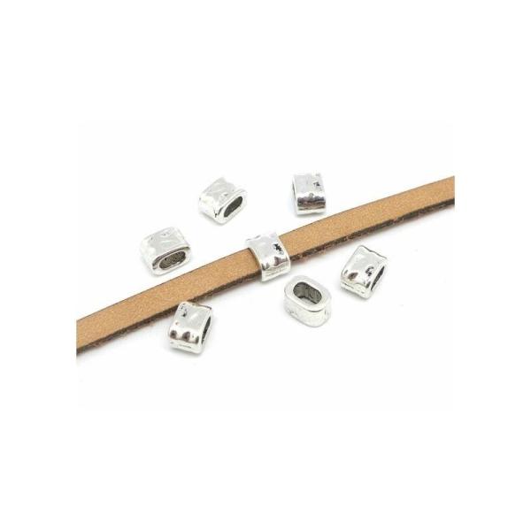 10 Perles Argenté Passant Pour Lanière Cuir De 4,5mm - 5mm Martelé - Photo n°1