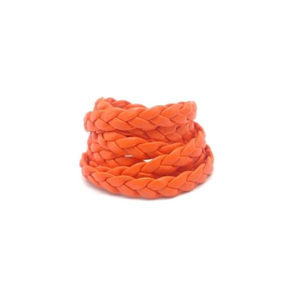 70cm Lanière Tressé 8mm Simili Cuir, Cuir Synthétique De Couleur Orange - Photo n°1