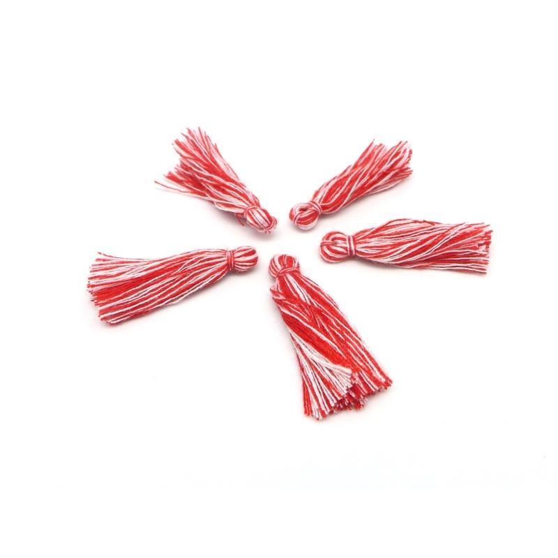 lot de 5 pompons breloques en fil polyester 3cm bicolore rouge et blanc pendentif pompon. Black Bedroom Furniture Sets. Home Design Ideas