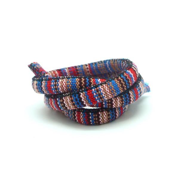 50cm Cordon Ethnique En Coton Tissé 6mm Multicolore Rouge, Bleu , Blanc, Noir, Marron - Photo n°1
