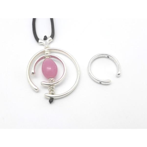 3 Perles Intercalaire Demi Cercle Ouvert Lune 38mm En Métal Argenté Lisse Appelé Aussi Demi Cadre - Photo n°2