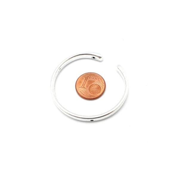 3 Perles Intercalaire Demi Cercle Ouvert Lune 38mm En Métal Argenté Lisse Appelé Aussi Demi Cadre - Photo n°3