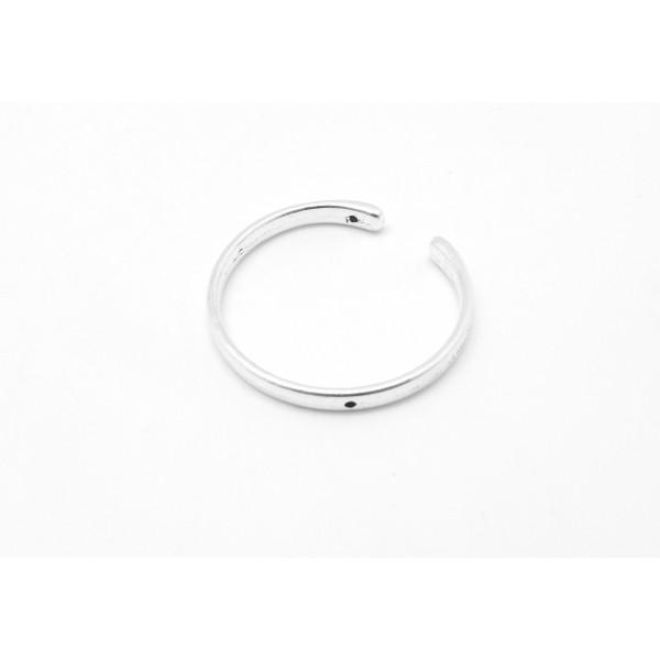 3 Perles Intercalaire Demi Cercle Ouvert Lune 38mm En Métal Argenté Lisse Appelé Aussi Demi Cadre - Photo n°4