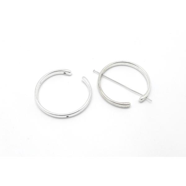 3 Perles Intercalaire Demi Cercle Ouvert Lune 38mm En Métal Argenté Lisse Appelé Aussi Demi Cadre - Photo n°5