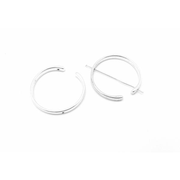 3 Perles Intercalaire Demi Cercle Ouvert Lune 38mm En Métal Argenté Lisse Appelé Aussi Demi Cadre - Photo n°1