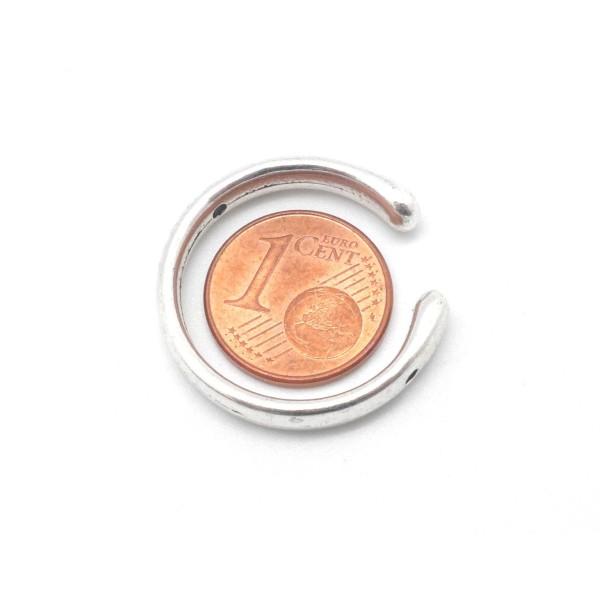3 Perles Intercalaire Demi Cercle Ouvert Lune 25mm En Métal Argenté Lisse Appelé Aussi Demi Cadre - Photo n°4