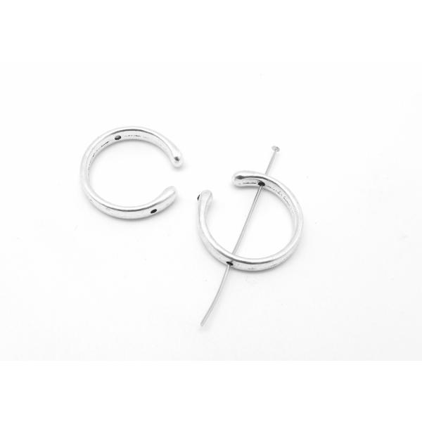 3 Perles Intercalaire Demi Cercle Ouvert Lune 25mm En Métal Argenté Lisse Appelé Aussi Demi Cadre - Photo n°1