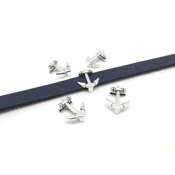 10 Perles Passant Ancre Marine Pour Lanière De 10mm En Métal Argenté - Photo n°2