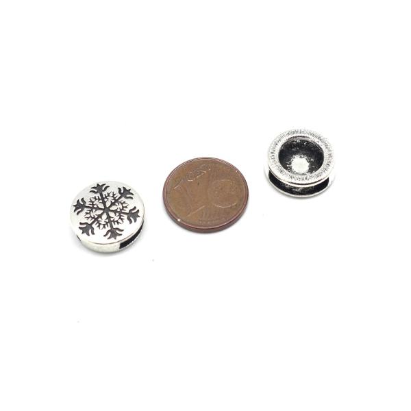 5 Perles Passant Pour Lanière 10mm Slide En Métal Argenté Motif Celtique Flocon - Photo n°2