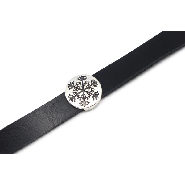 5 Perles Passant Pour Lanière 10mm Slide En Métal Argenté Motif Celtique Flocon - Photo n°1