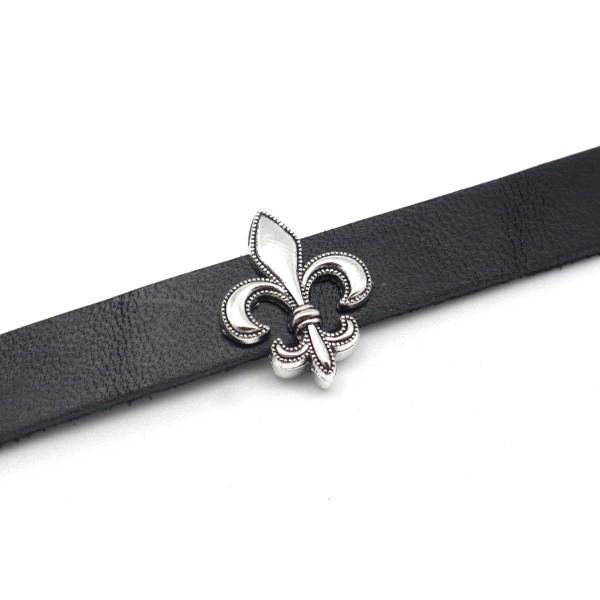 5 Perles Passant Fleur De Lys Symbole Royaute Pour Laniere De 10mm