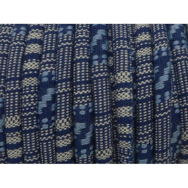 50cm Cordon Ethnique En Coton Tissé 6mm De Couleur Bleu Jeans Et Blanc - Photo n°2