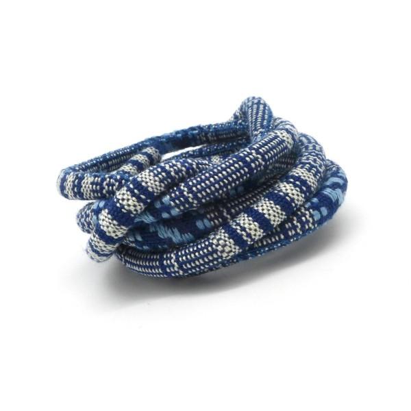 50cm Cordon Ethnique En Coton Tissé 6mm De Couleur Bleu Jeans Et Blanc - Photo n°1