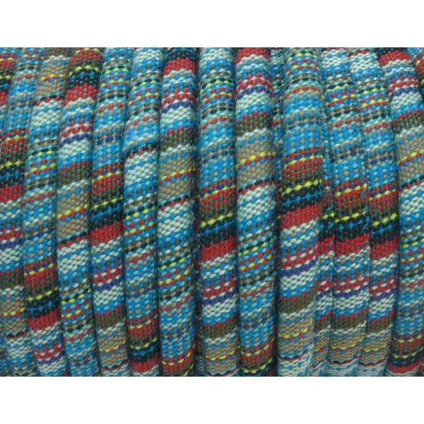 50cm Cordon Ethnique En Coton Tissé 6mm Multicolore Bleu Turquoise, Rouge Noir Jaune Blanc - Photo n°2