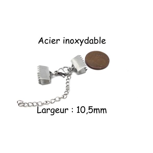 Fermoir Mousqueton Avec Embout Griffe 10,5mm Serre Ruban En Acier Inoxydable - Photo n°2