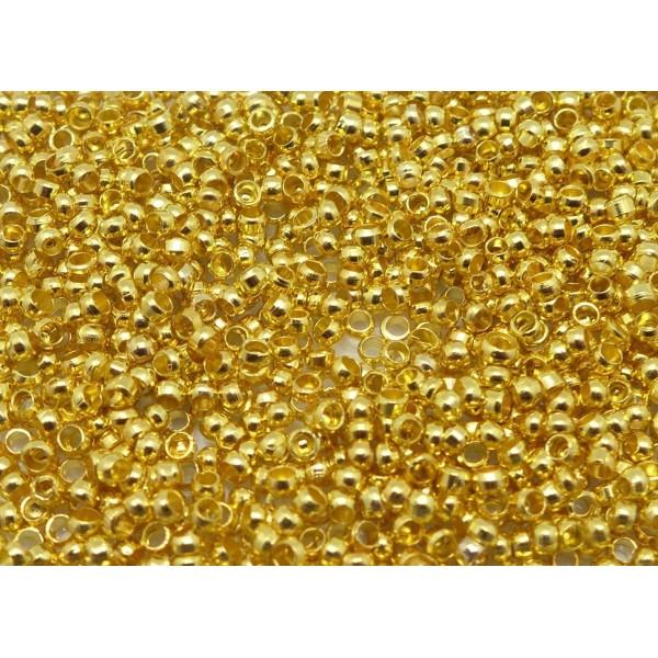 Lot De 400 Perles À Écraser Métal Doré 2mm - Photo n°1