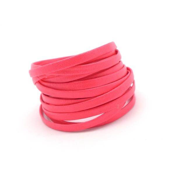 2,5m Lanière Simili Cuir 4mm De Couleur Rose Fluo - Photo n°1